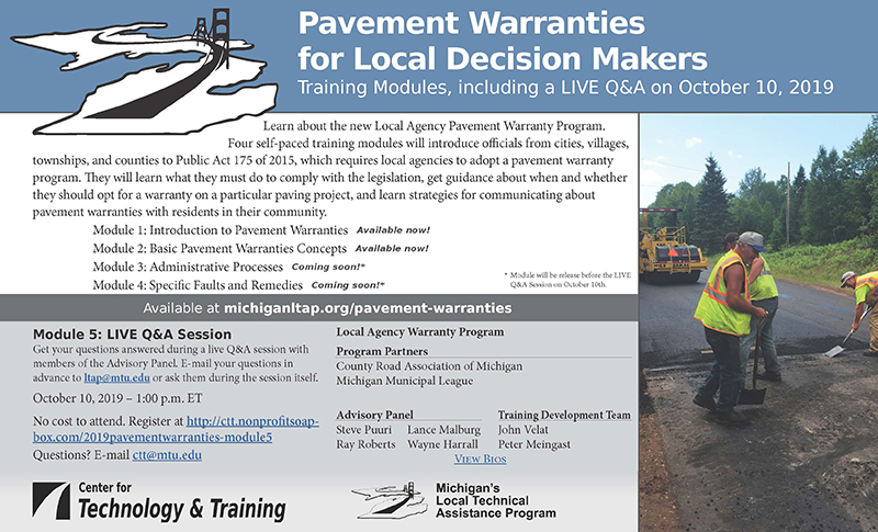 Flyer advertising five modules in the pavement warranties training series